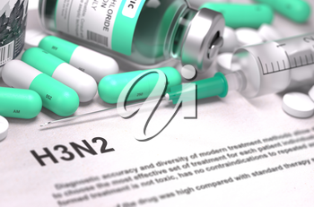 H3N2 - Printed Diagnosis with Mint Green Pills, Injections and Syringe. Medical Concept with Selective Focus.