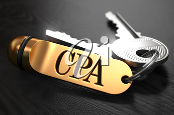 CPA - Cost Per Action - Concept. Keys with Golden Keyring on Black Wooden Table. Closeup View, Selective Focus, 3D Render.