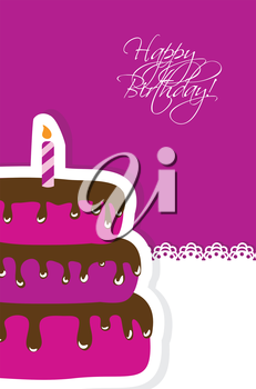 Royalty Free Clipart Image of a Birthday Card With Cake and Candle