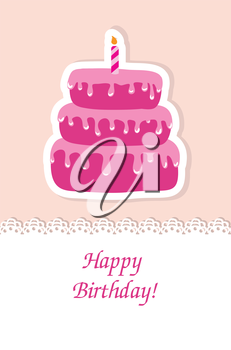 Royalty Free Clipart Image of a Birthday Card With a Cake and Candle