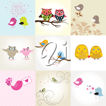 Set of 9 valentines cards with cute birds couples