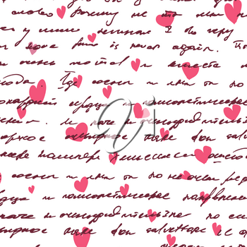 Love background with seamless hand drawn text and small hearts. Valentines design.
