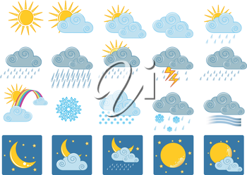 Vector illustration (eps 10) of 20 weather icons