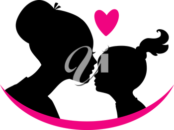 Vector illustration of Mom and daughter love