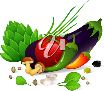 Vector illustration of Vegetables set on white background