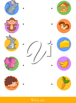 Educational children game, vector. Matching game for kids. Logic activity