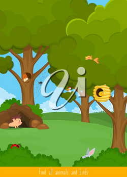 Educational children game, vector. Logic game for kids. Find all animals and birds
