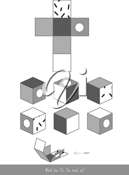 Educational children game. Mock up of the cube. Find the correct cube.