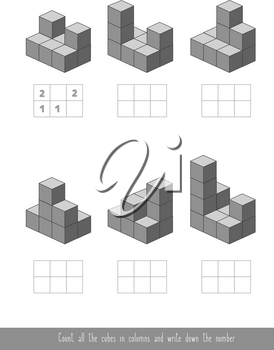 Educational children game. Counting game with cubes. Worksheet for kids