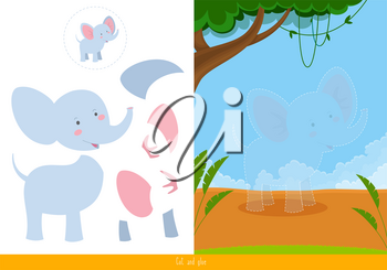 Cut and glue for kids, vector illustration