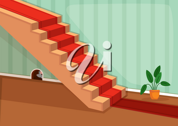 Vector illustration of small mouse hiding in its hole inside the house