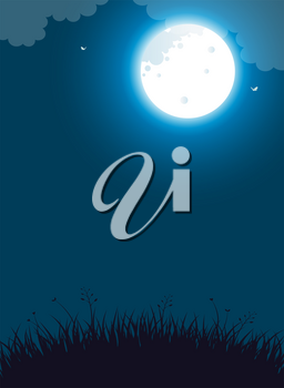 Vector illustration of night landscape with full moon and flying butterflies