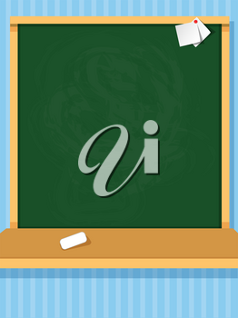 Vector illustration of clean chalkboard in the classroom