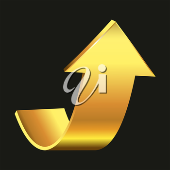 Royalty Free Clipart Image of a Gold Arrow Pointing Up on Black