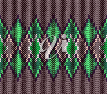 Style seamless green color knitted ornament pattern