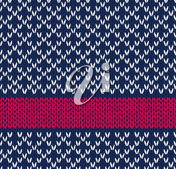 Style Seamless Blue White Red Color Knitted Vector Pattern