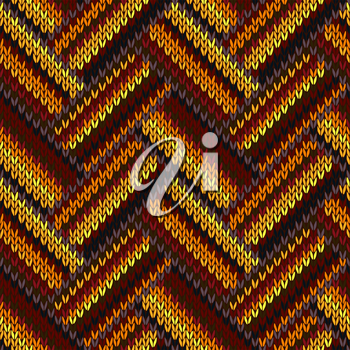 Seamless Knitted Pattern. Yellow Orange Red Brown Color Background