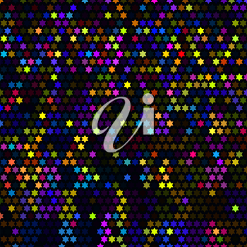 Multicolor abstract lights disco background. Star pixel mosaic vector