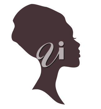 African woman face silhouette in national headdress