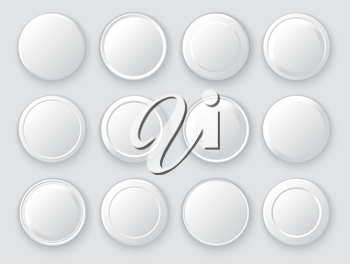 White icon collection. Set of realistic pin buttons. Empty template