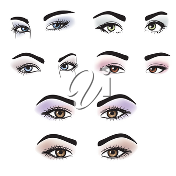 Female eyes of different colors with makeup. Set of Lovely girl eyes friendly look