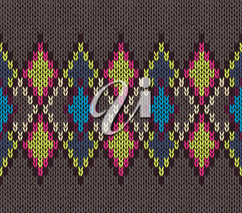 Seamless Knitted Pattern. Blue Yellow Red White Brown Color. Fashionable youth modern style.