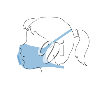 Profile of a little girl in a respirator. Preventative measures. Child protection. Continuous one line vector illustration