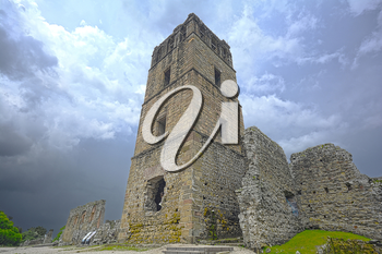 Ruins of the tower for the cathedral in the old colonial city of Panama