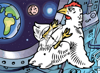 The lone brave chicken in a cabin of a space ship is looking at his home planet.