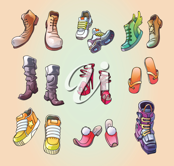 The set of the original, strange and casual vector footwear. And even the one ski boot! Editable vector EPS v.10. Enjoy!