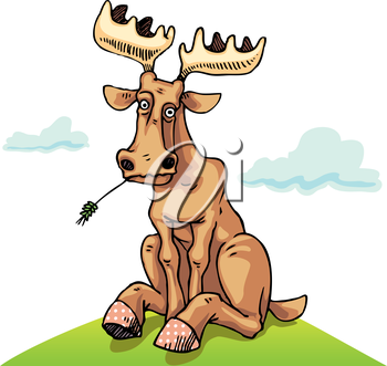 Perplexing moose is sitting on the green lawn.Editable vector EPS v9.0