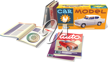 The technical magazines, the professional books and the car model are placed on a white background. This is the editable vector EPS which has a version v10.0.Enjoy!