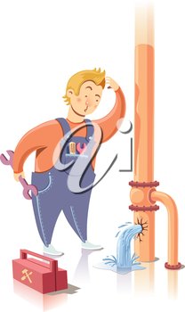 Plumber is embarrassed while looking at the waterpipe. It looks like he is a beginner at the plumbing service.Editable vector EPS v9.0