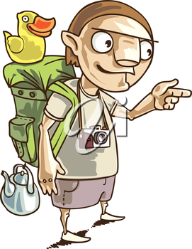 The backpacker with the all staff he needs in his journey.