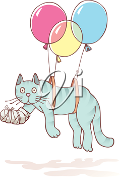 The injured cat with the damaged paw in a bandage is flying with air balloons.