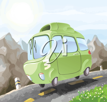 A small retro-styled car having a dangerous trip on the mountain road.