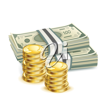 money bills and stack of coins isolated