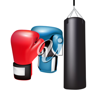 boxing gloves and bag isolated on white