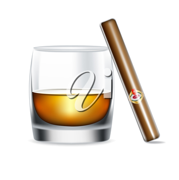 whiskey glass and cigar isolated on white