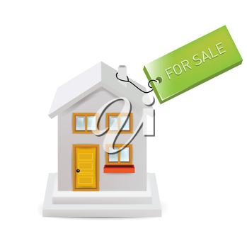 house with for sale sign isolated on white
