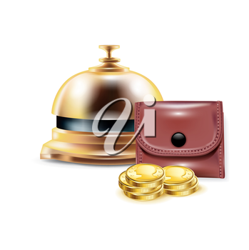 reception bell with wallet and golden coins isolated