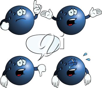 Royalty Free Clipart Image of Sad Bowling Balls