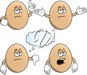 Royalty Free Clipart Image of Bored Eggs