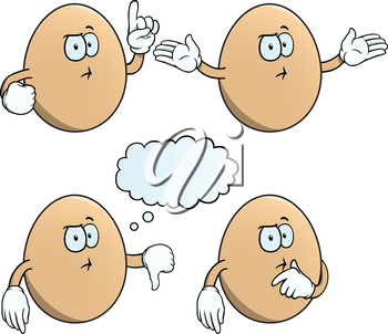 Royalty Free Clipart Image of Thinking Eggs