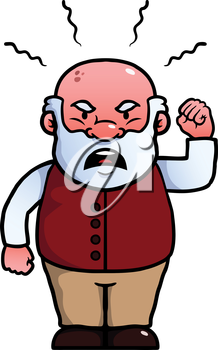 Royalty Free Clipart Image of an Angry Elderly Man
