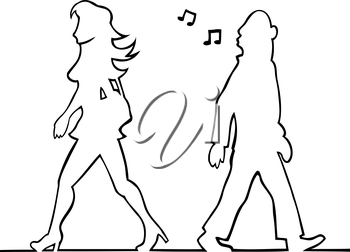 Royalty Free Clipart Image of a Man Whistling at a Woman