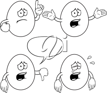 Royalty Free Clipart Image of Crying Eggs