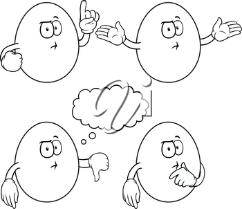 Royalty Free Clipart Image of Cartoon Eggs