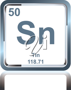 Symbol of chemical element tin as seen on the Periodic Table of the Elements, including atomic number and atomic weight.