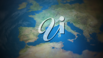 Southern Europe on a world map with vignette and radial blur effect. Elements of this image are furnished by NASA.
